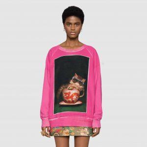 Ignasi Monreal Cat Print Pink Sweatshirt