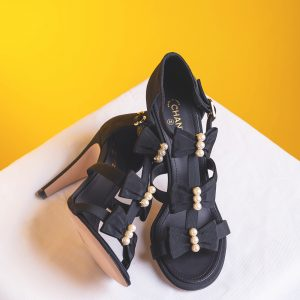 Chanel Black Gross-grain Pearl & Bow Heels