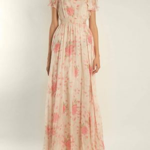 Neck Tie Silk Cream Gown