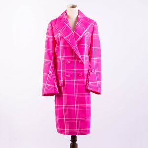 Checkered Double-Breasted Coat In Pink