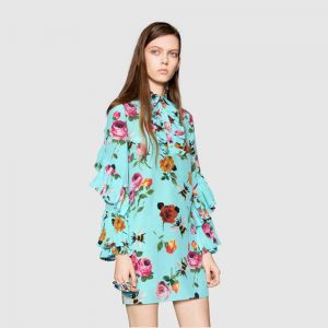 Gucci Rose Print Silk Ruffle Dress