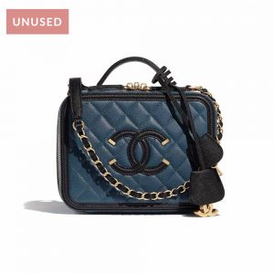 Chanel Black Quilted Caviar Leather Filigree Vanity Case Bag