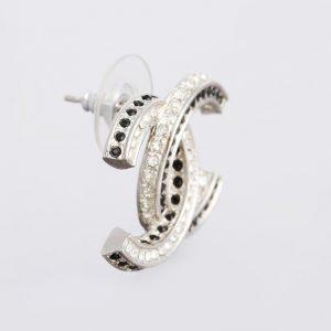 Chanel Baguette Crystal CC Earrings Silver