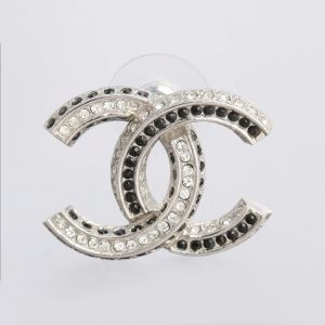 Chanel Baguette Crystal CC Earrings Silver