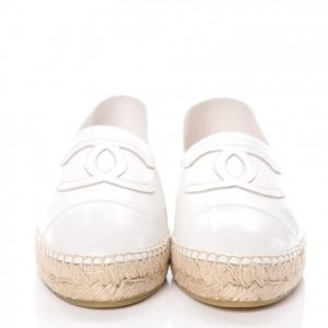 Espadrilles White Patent Leather Flats