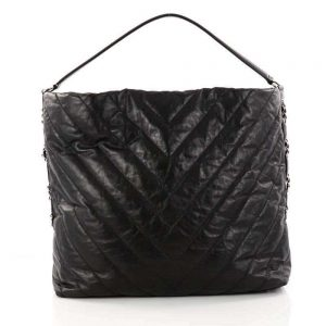 Chanel Aged Calfskin Chevron Large Big Bang Hobo Black