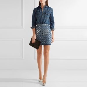 Saint Laurent Frayed Studded Denim Mini Skirt