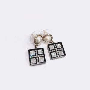 Chanel Resin Geometric Square CC Earrings