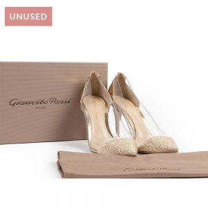 Gianvito Rossi Gold Glitter Plexi Heels