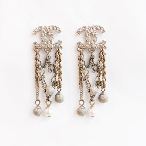 Chanel CC Logo Pearls Dangle Earring