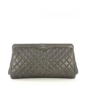 CC Frame Clutch Quilted Caviar Large