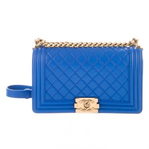 Chanel Boy Medium Quilted Lambskin Leather Bag- Cobalt Blue GHW