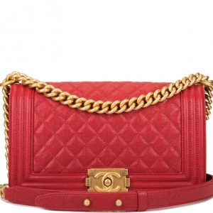 Chanel Boy Medium Quilted Caviar Bag- Red Antique Gold Hardware