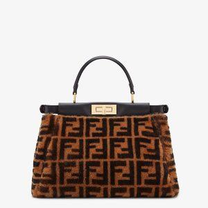 Peekaboo Iconic Medium Brown Sheepskin Bag