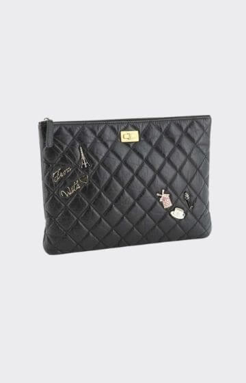 Chanel Lucky Charms Reissue 2.55 O Case Clutch Quilted Aged Calfskin Medium