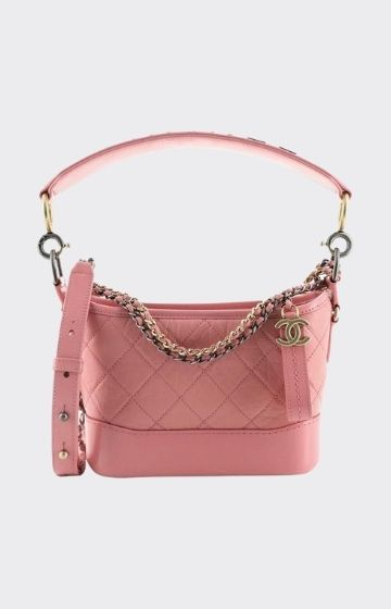 CHANEL Aged Calfskin Quilted Small Gabrielle Hobo Pink