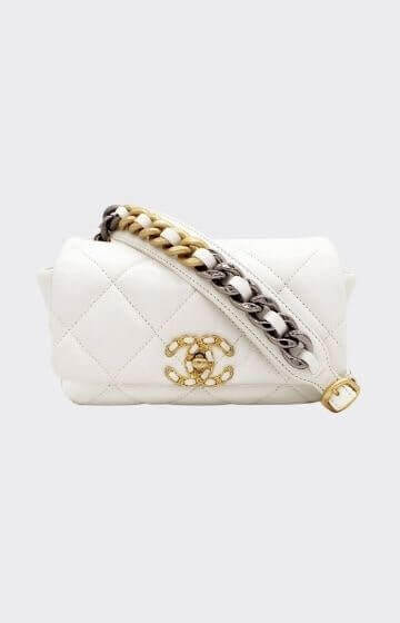 Chanel Lambskin Quilted 19 Waist Bag White