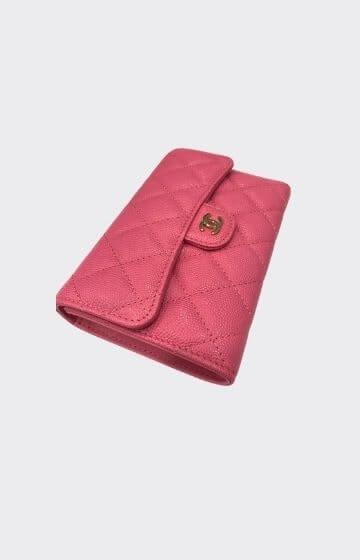 Chanel Classic Long Flap Wallet Pink Caviar